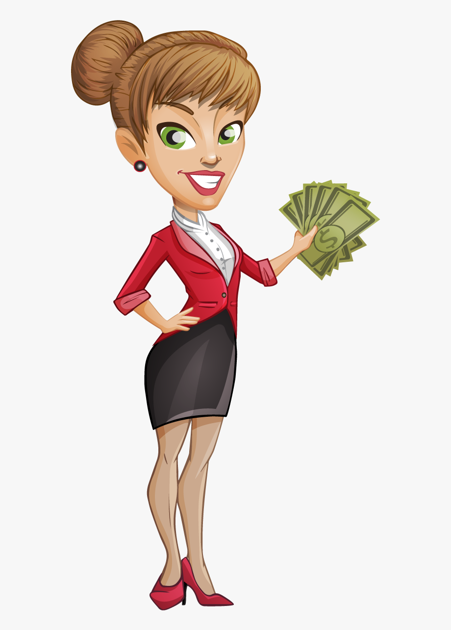 28 Collection Of Girl Holding Money Clipart.