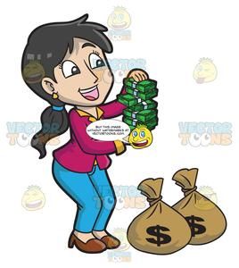 A Woman Delightfully Holding Bundles Of Money.