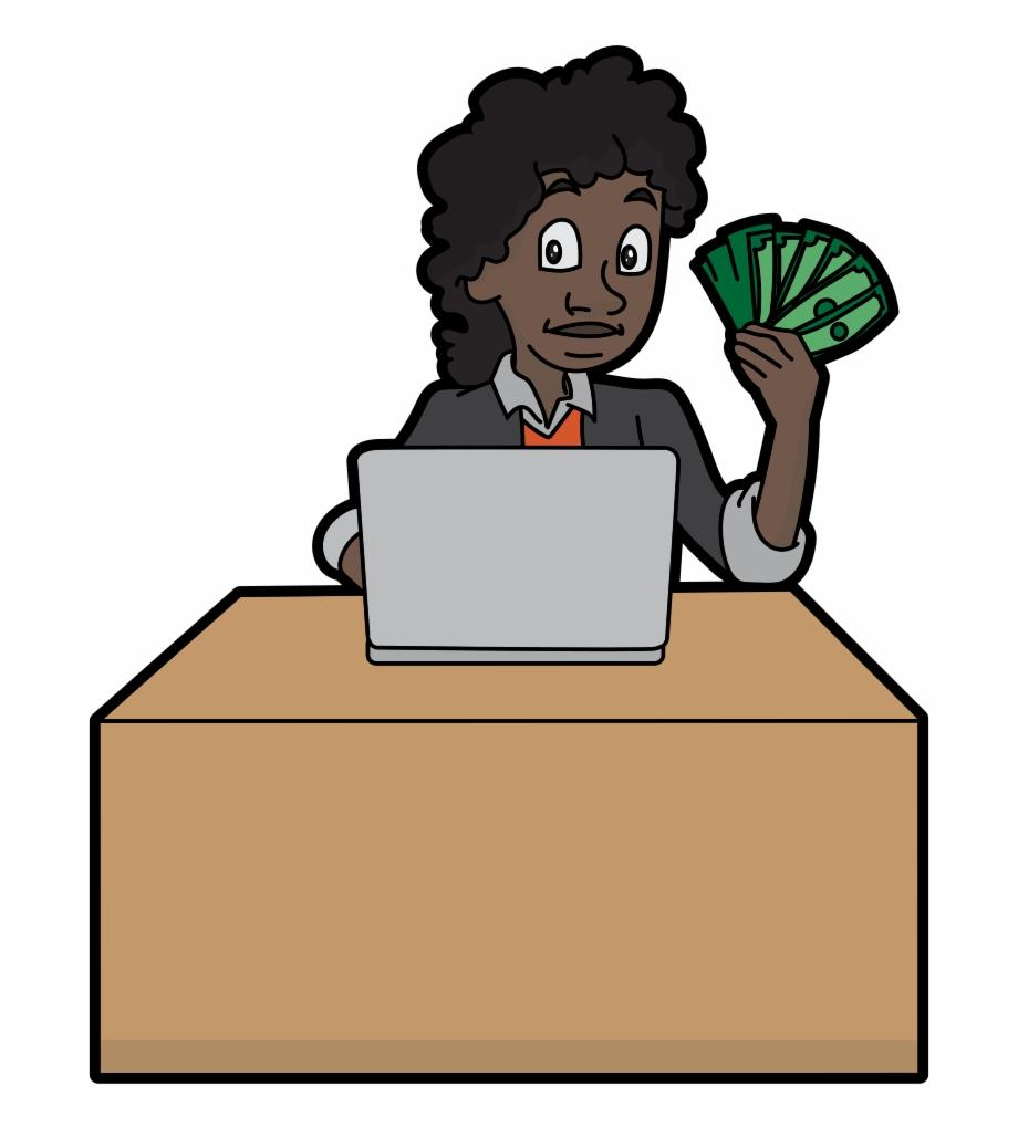 Black Cartoon Woman Holding A Bunch Of Money.