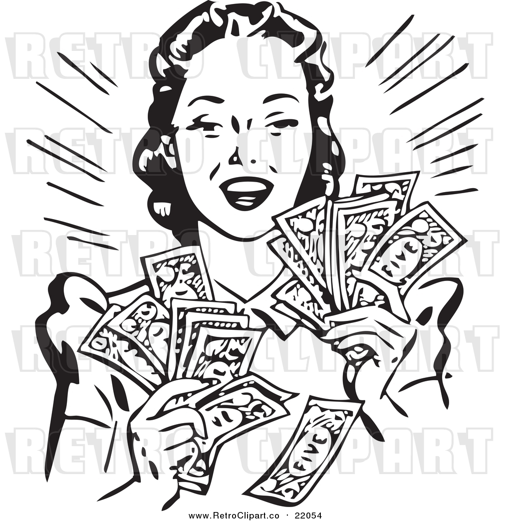 Vector Clipart of a Retro Woman Holding Handfulls of Cash by.