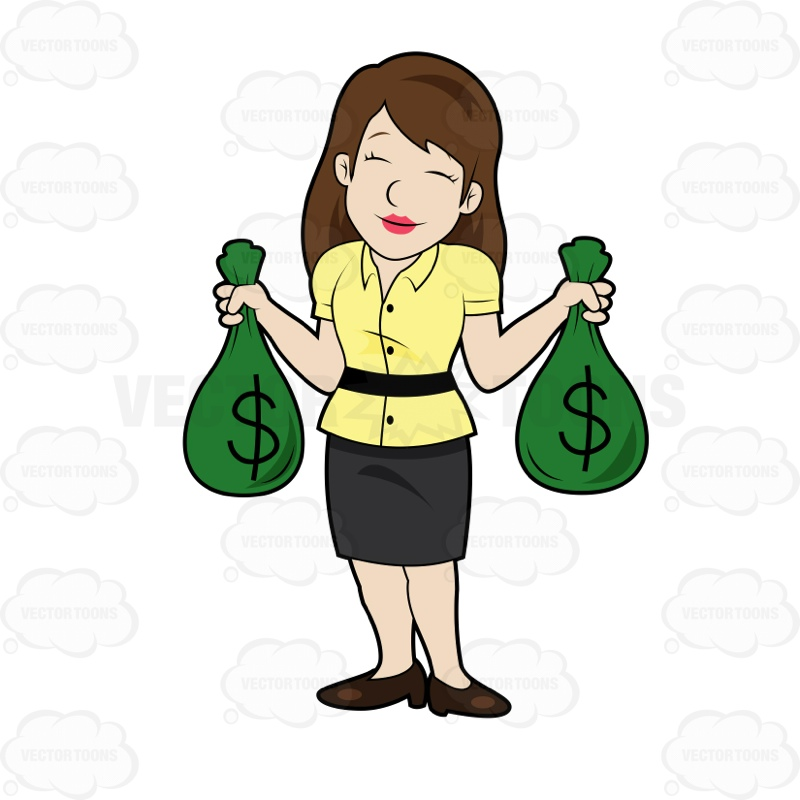Woman With Money Clipart.