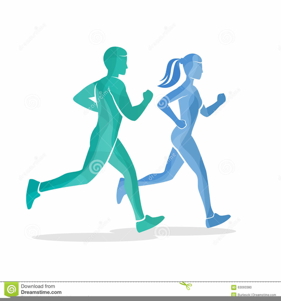 Man And Woman Running Clipart.