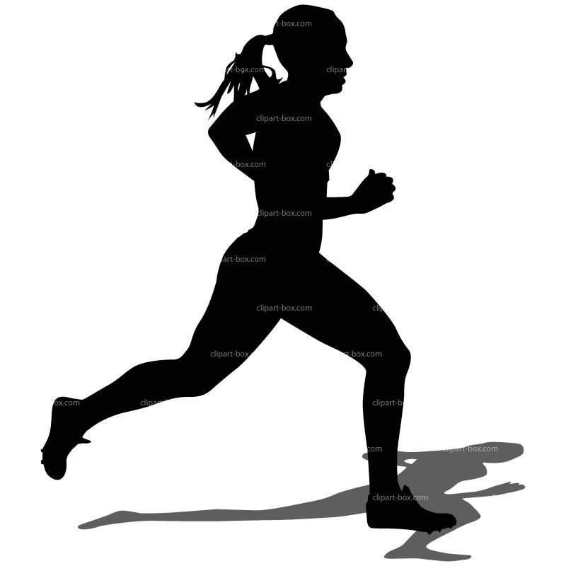 Woman Running Clipart Black And White.