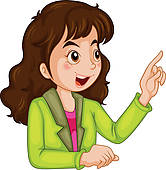 Clip Art of A woman with long wavy brown hair ksi0012.