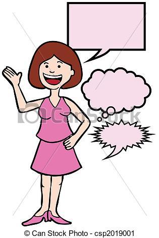 Clipart of Outspoken Dress Woman.