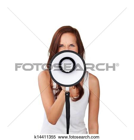 Stock Image of Woman speaking into a megaphone k14411355.