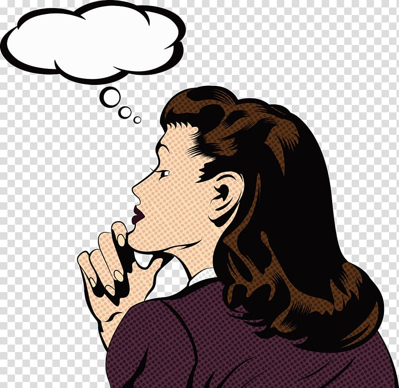 Woman thinking with white cloud bubble illustration, Pop art.