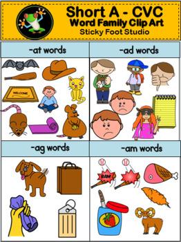 Short Vowel CVC Word Family Clip Art.