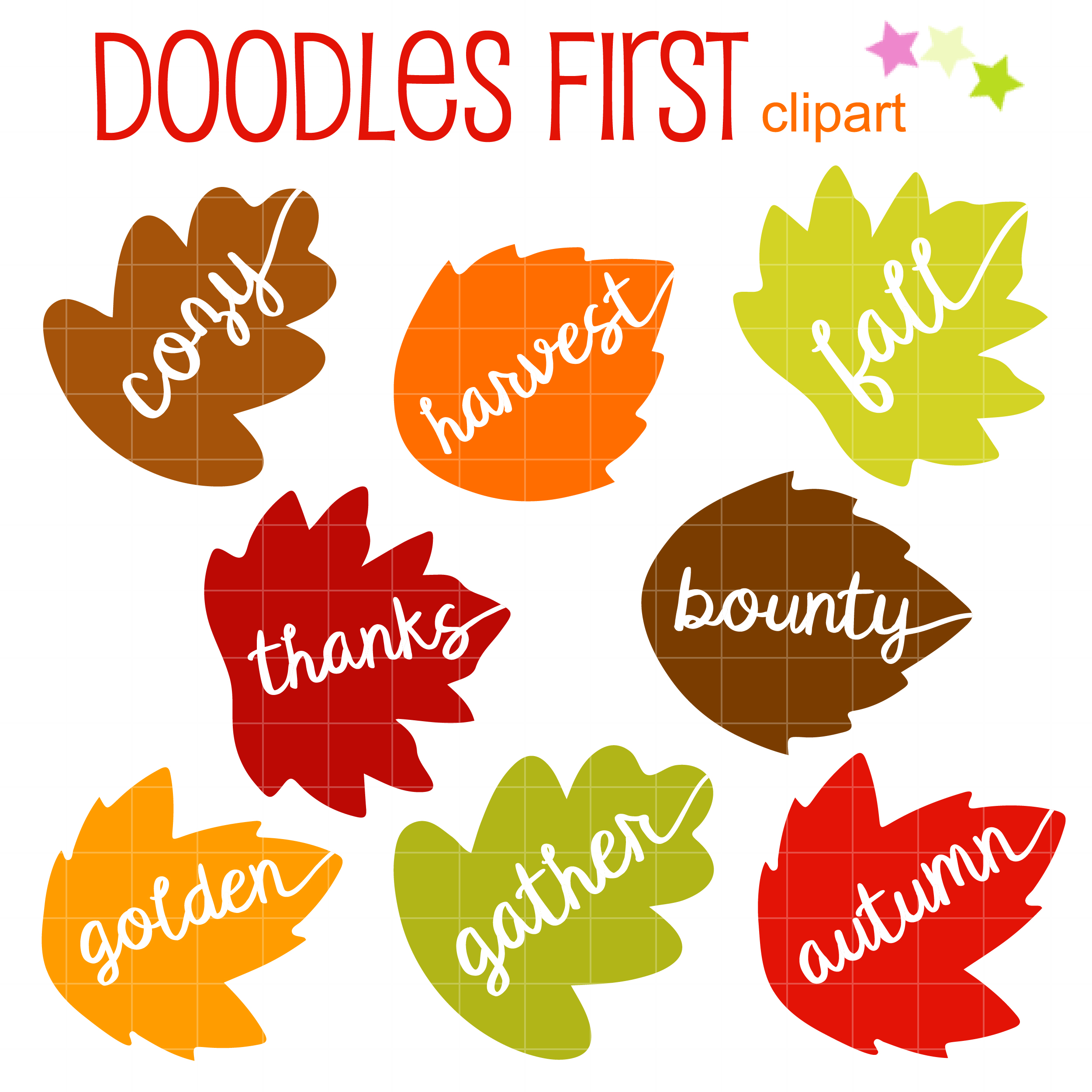 Autumn Words on Leaves Clip Art Set.