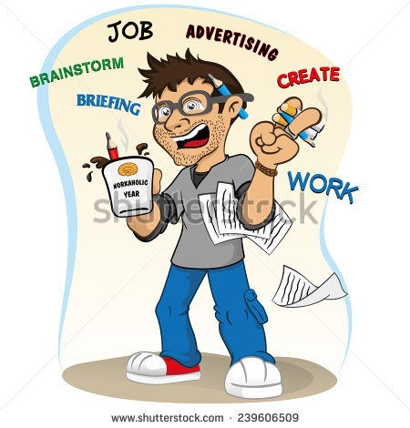 Illustration Representing Professional Mascot Workaholic Stressed.
