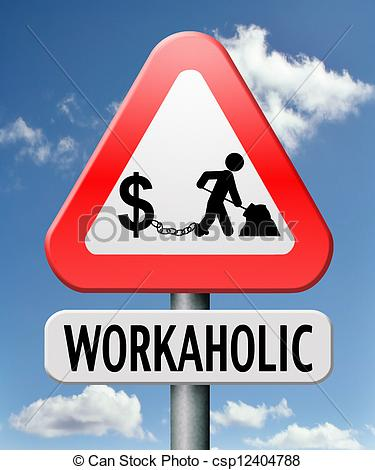 Pictures of workaholic money slave working hard to earn income by.