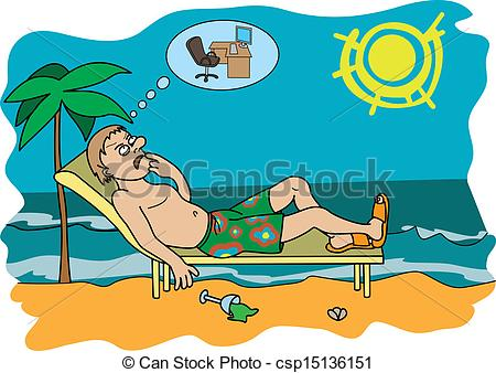 Clipart Vector of Workaholic on vacation.