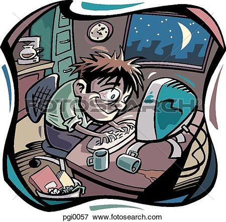 Stock Illustration of workaholic pgi0057.