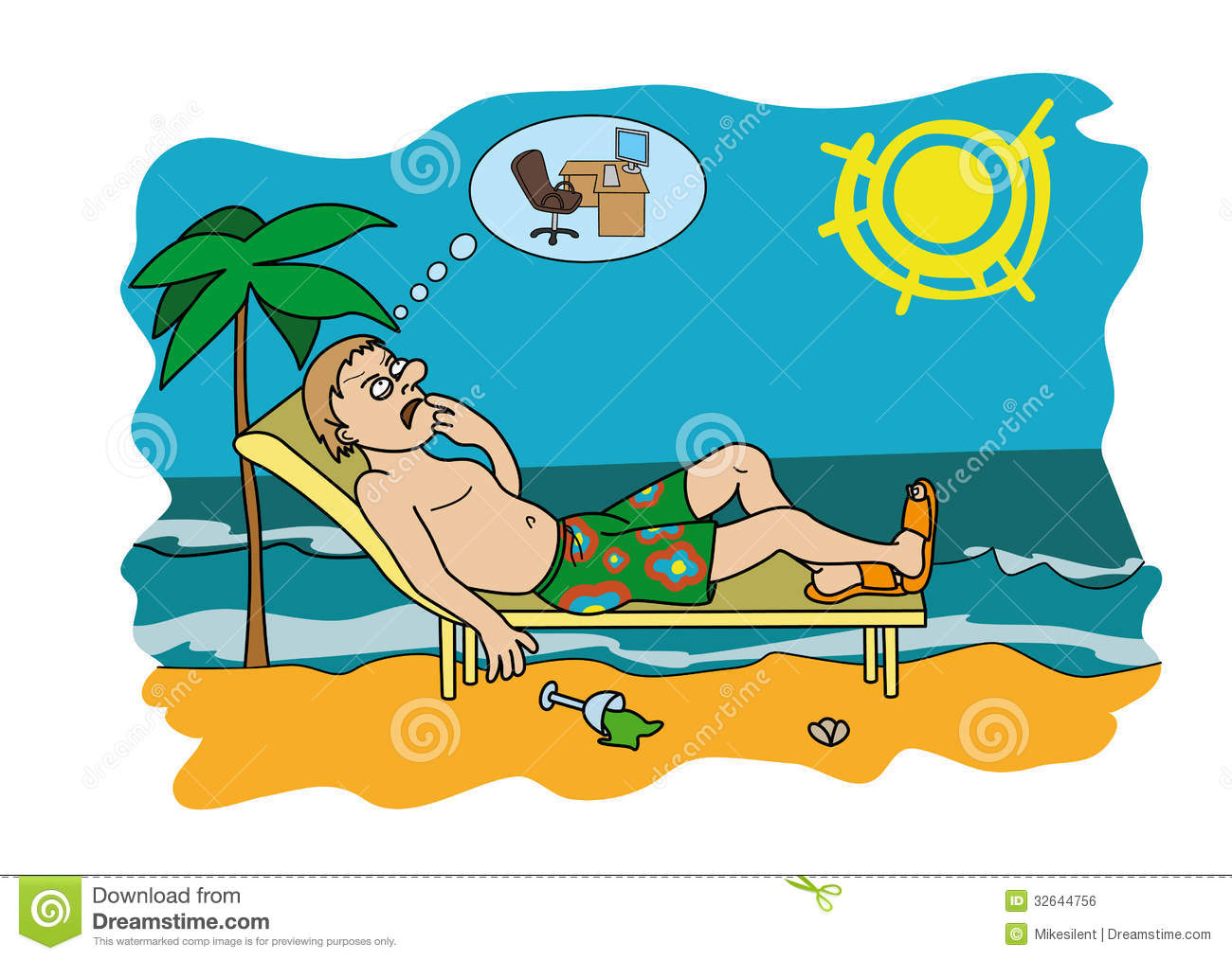 Workaholic On Vacation Worrying About Work Royalty Free Stock.