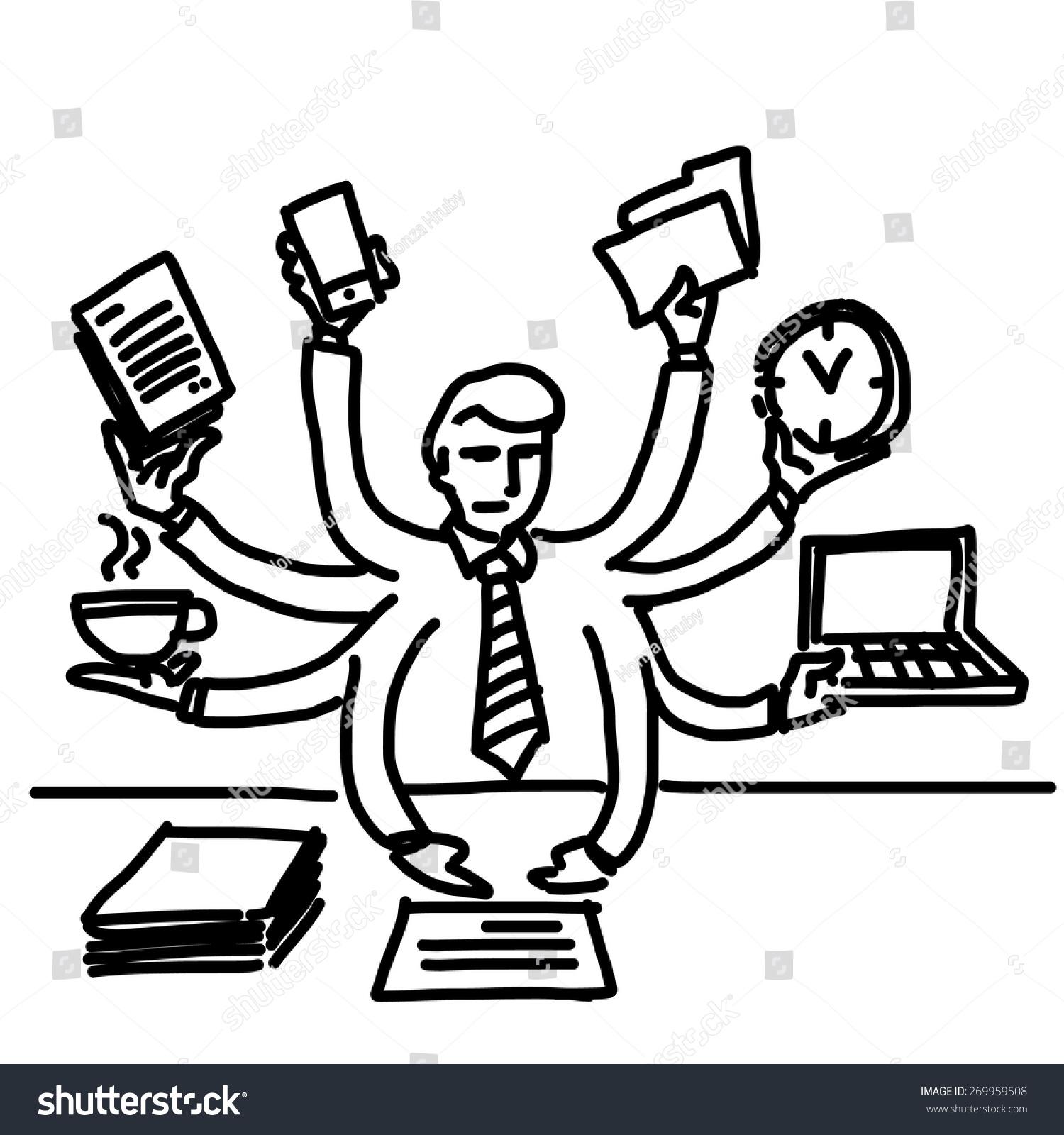 Vector Illustration Businessman Workaholic Multitasking Simply Stock.