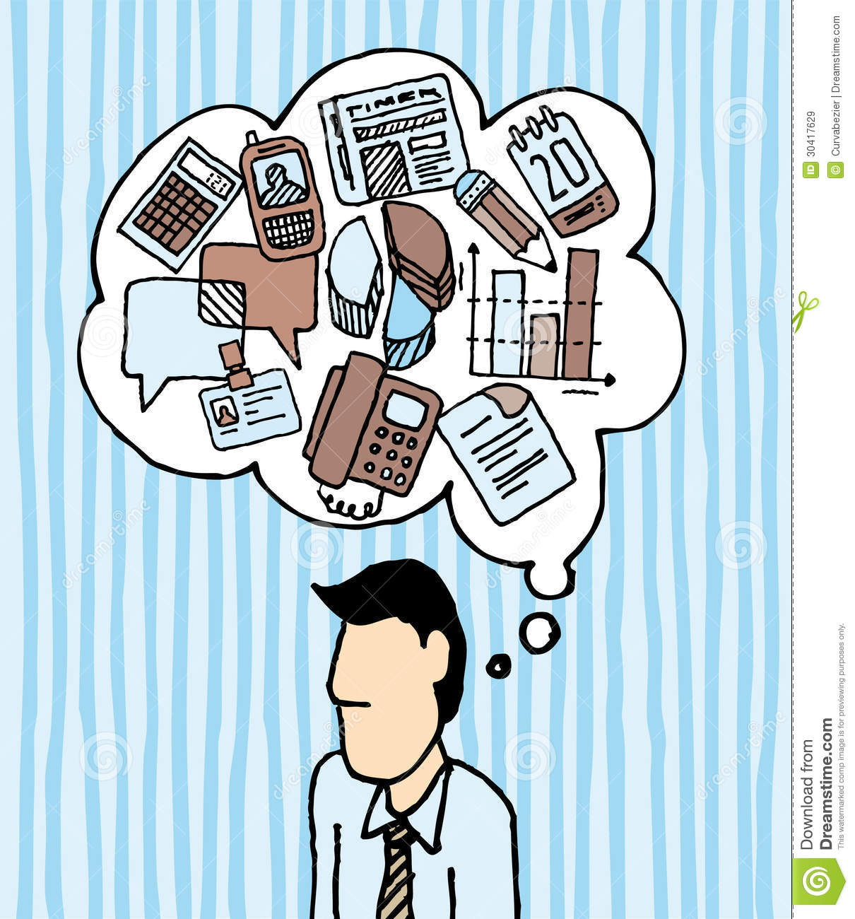 Workaholic Busy Businessman / Stress Work Icons Stock Vector.