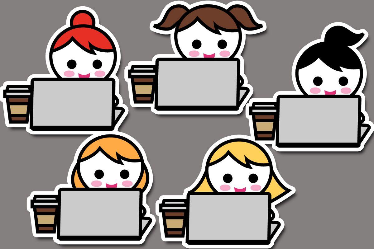 Cute planner girls characters, work til.