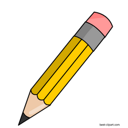 Yellow pencil with pink eraser, free clip art.