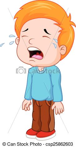 Vector Clipart of Cartoon a young boy crying.