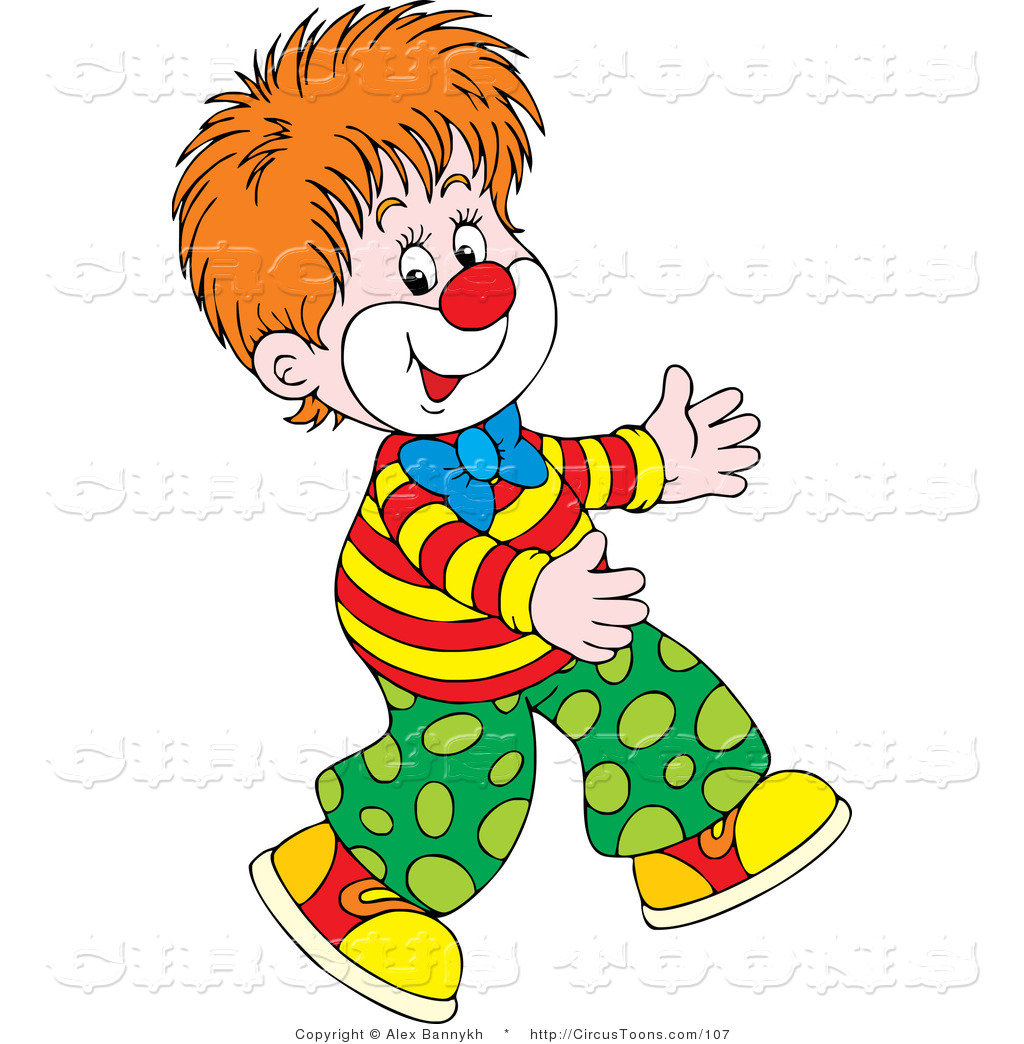 Circus Clipart of a Young Boy Clown Walking by Alex Bannykh.