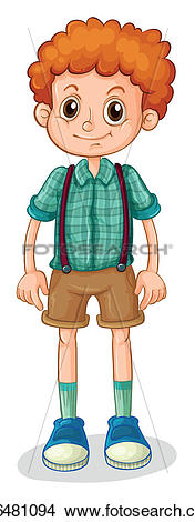 Clipart of A young boy with a curly hair k16481094.