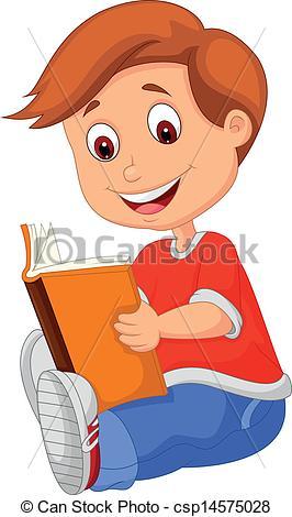 Vector Illustration of Young boy cartoon reading book.