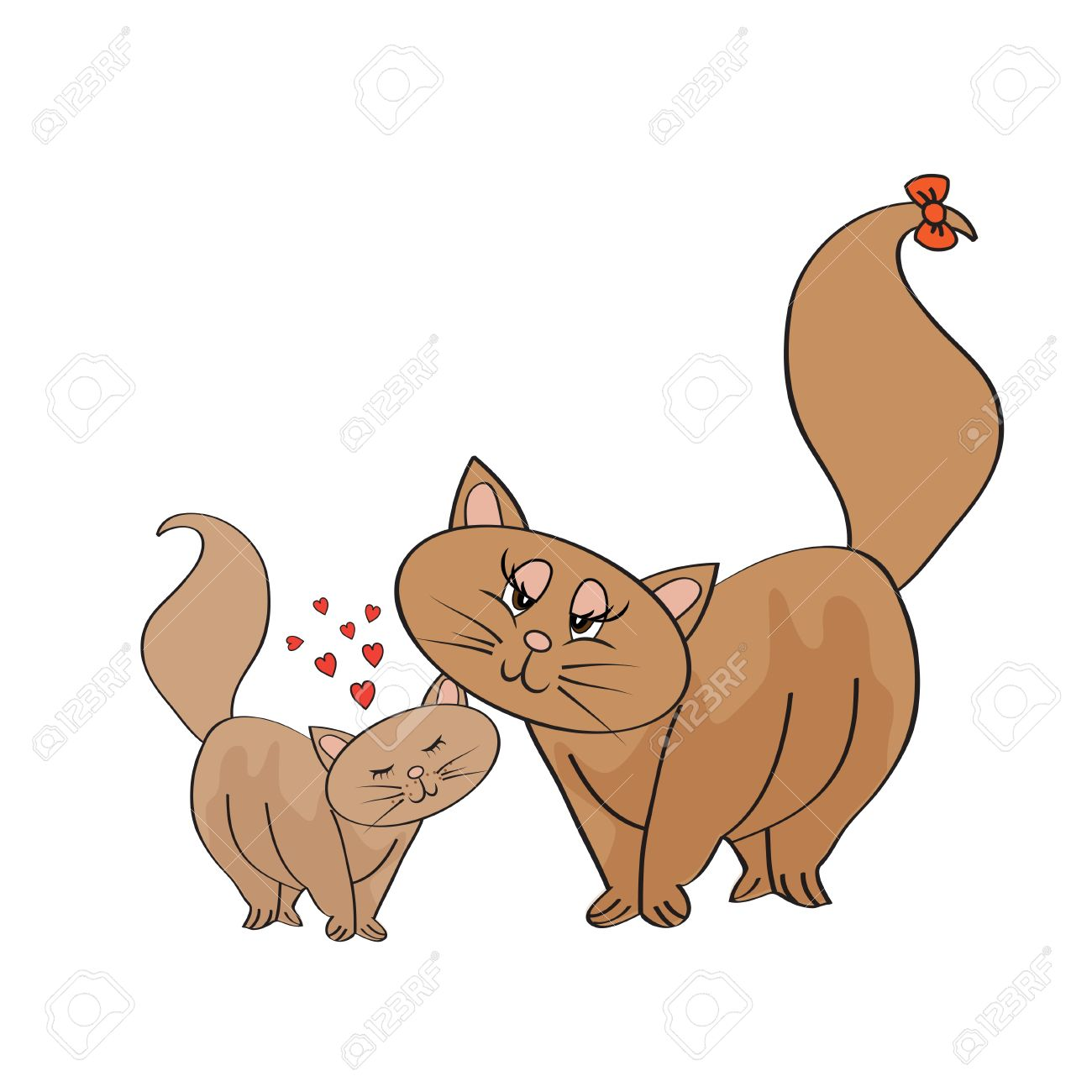 New Baby Kitten With His Mother Royalty Free Cliparts, Vectors, And.