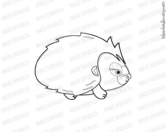 Baby Female Hedgehog Clip Art Clipart Black Doodle Digital Stamp.
