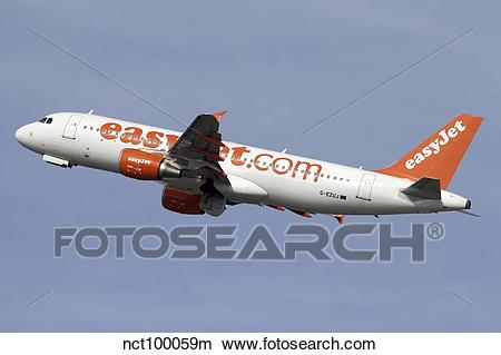Stock Photo of Airbus A319 of EasyJet British airlines. nct100059m.