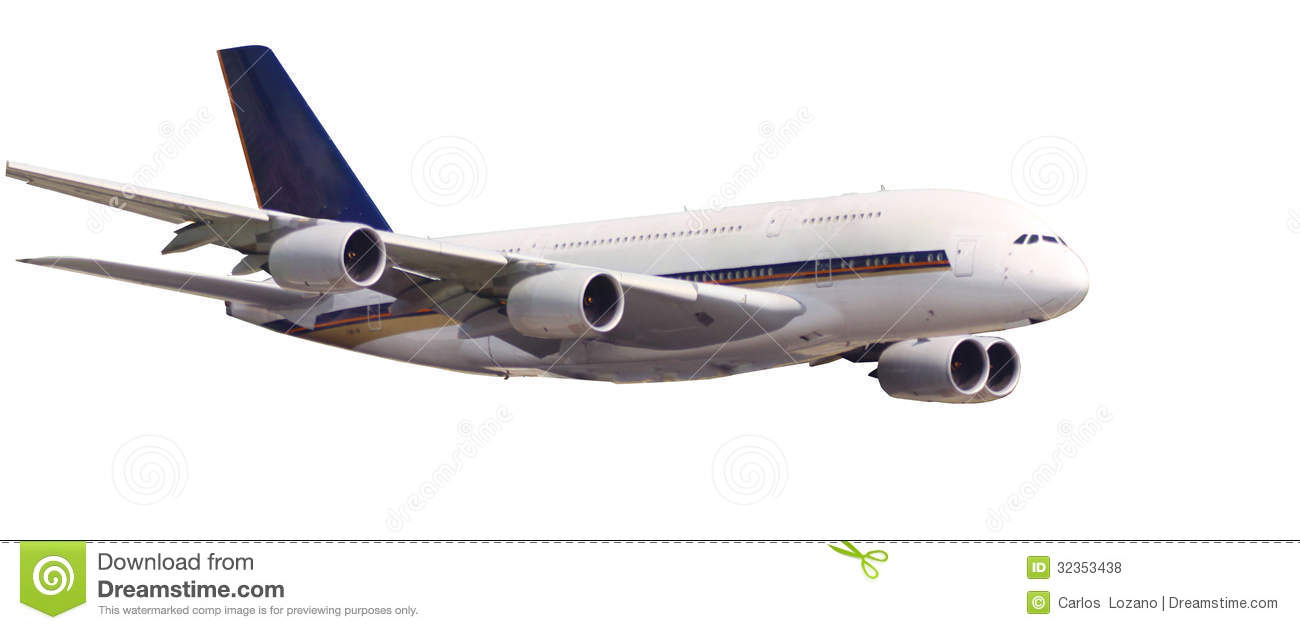 Airbus A380 The Bigest Airplane Of The World Isolated Royalty Free.