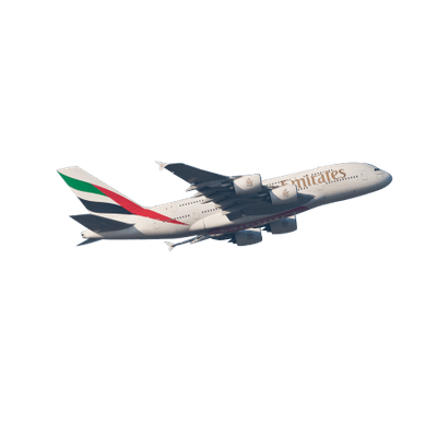 Emirates A380 transparent PNG.