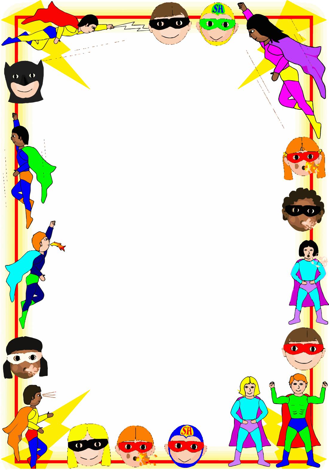 Superhero A4 Page Borders Clipart.