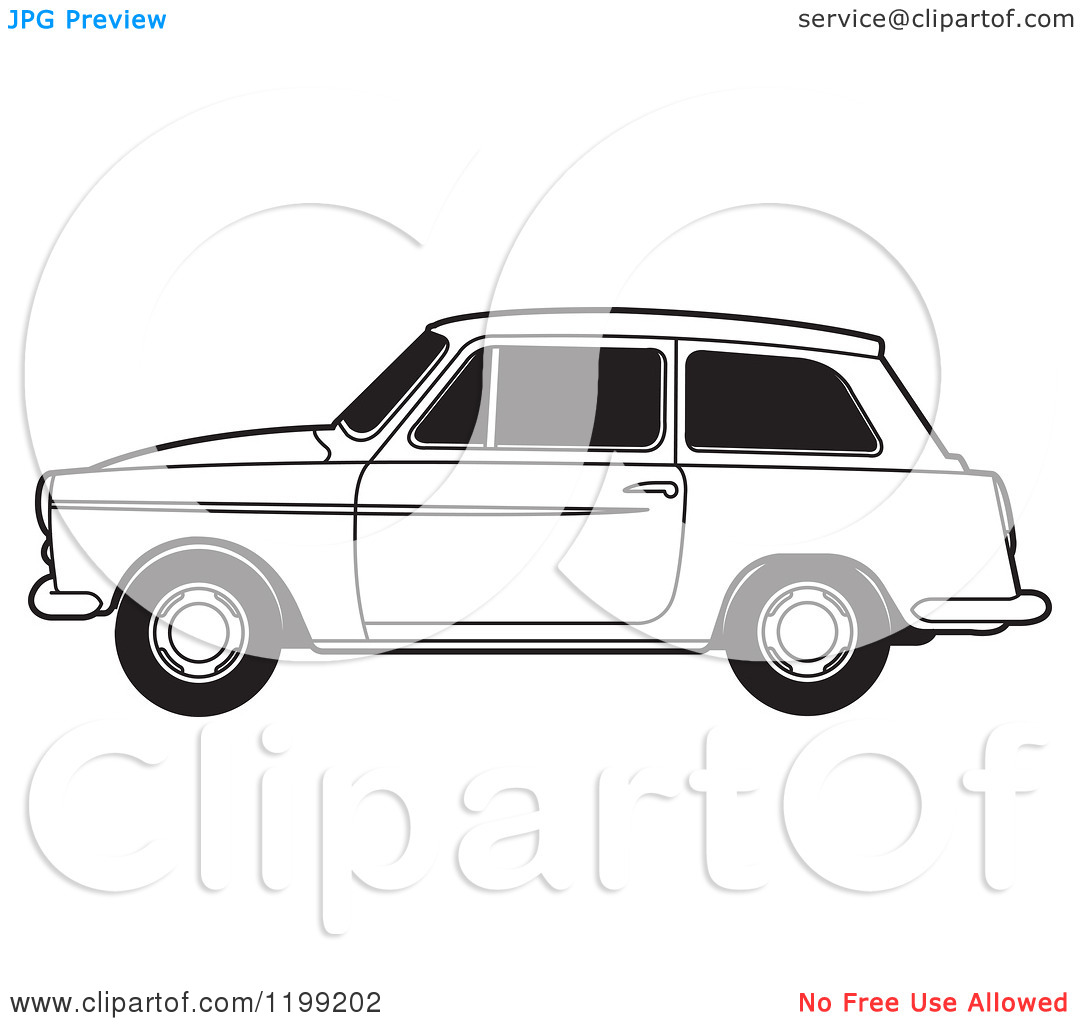 Clipart of a Black and White Austin A40 Car.