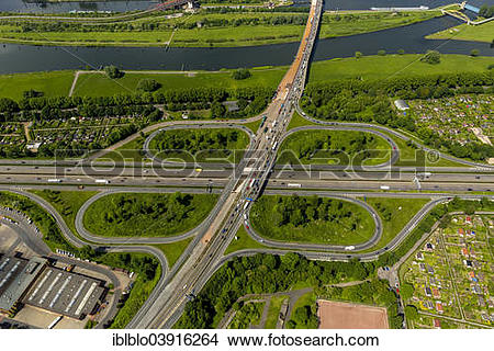 """Stock Photo of """"Junction of the A40 and A59 motorways, aerial view."""