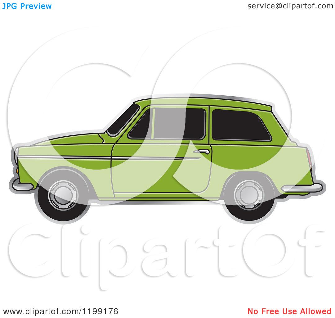 Clipart of a Green Austin A40 Car.
