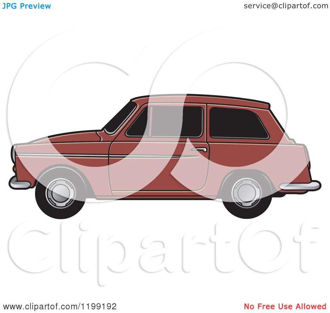 Clipart of a Brown Austin A40 Car.