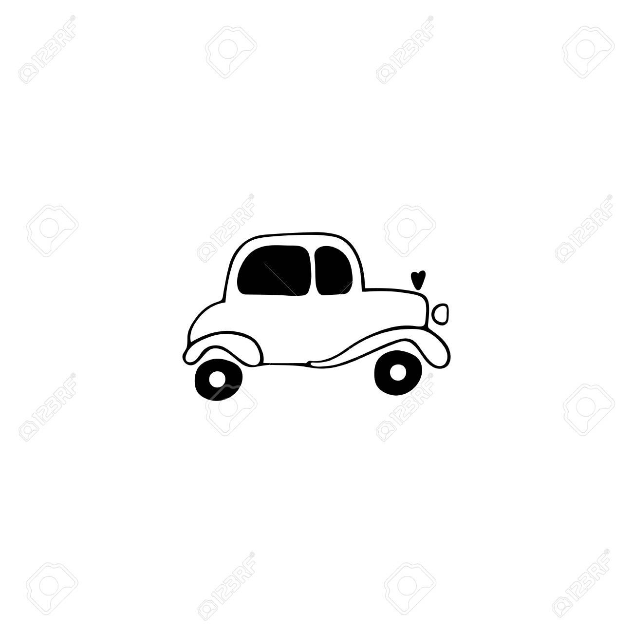 Vector Hand Drawn Object, Wedding Car. Logo Element, Romantic.