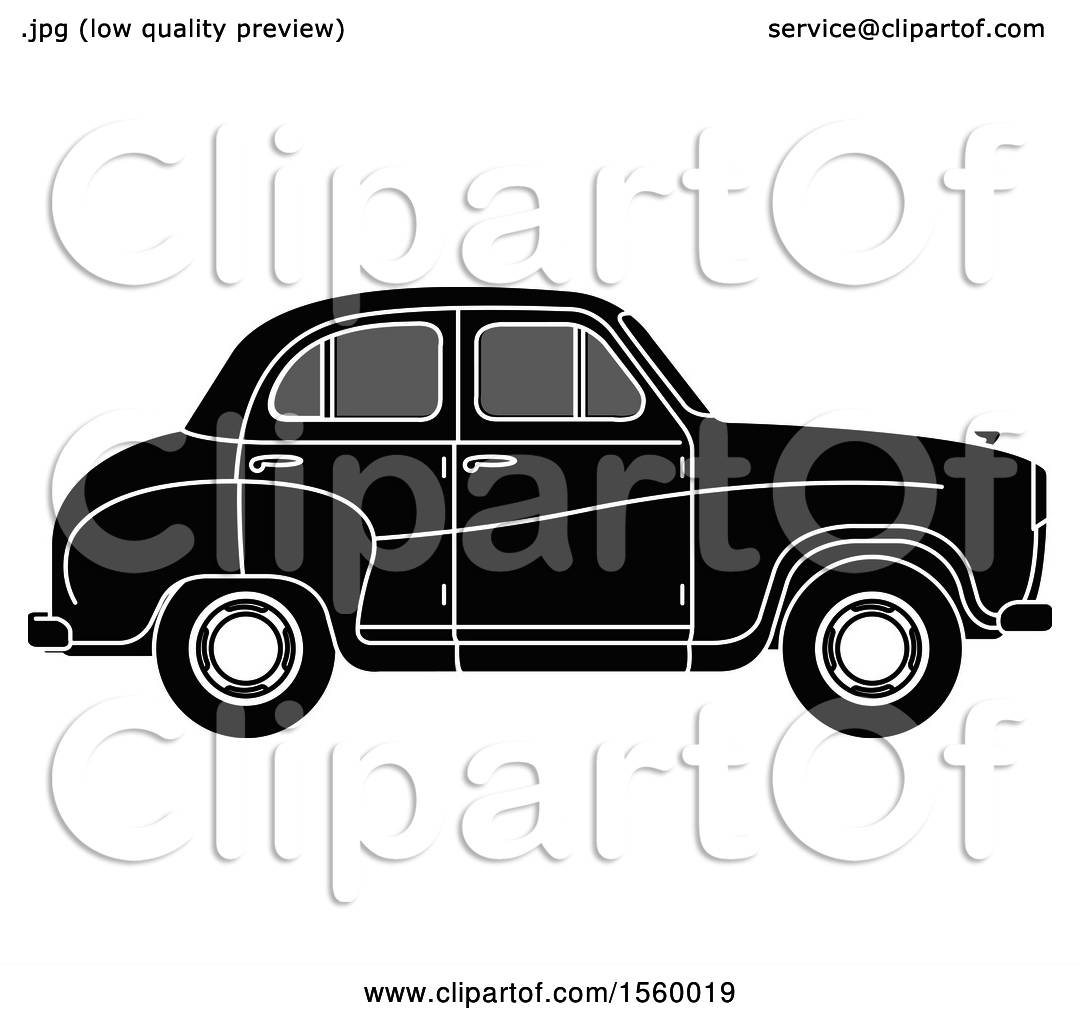 Clipart of a Grayscale Vintage Car.