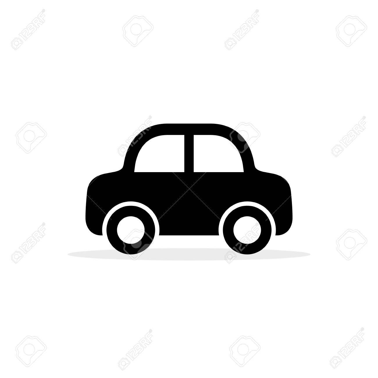 Car Icon, Vector Flat Simple Cartoon Transportation Symbol Isolated.