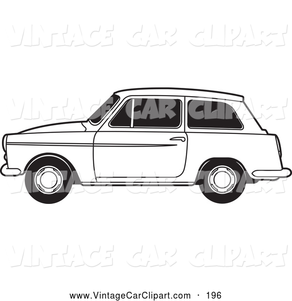 Clipart of a Black and White Compact Austin A40 Car by Lal Perera.