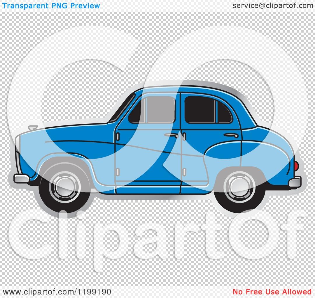 Clipart of a Blue Austin A30 Car.