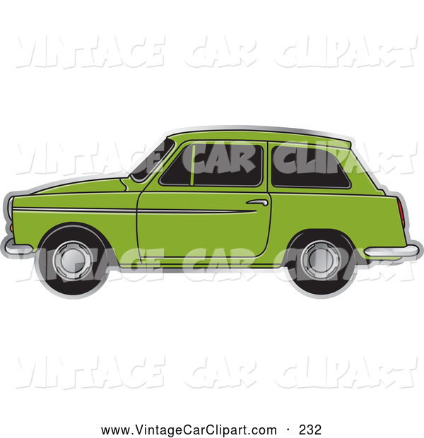 Clipart of a Green Austin A40 Car Driving Left by Lal Perera.