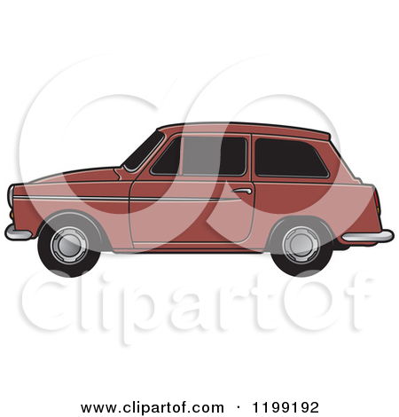 Clipart of a Vintage Black Car with Gold Trim.