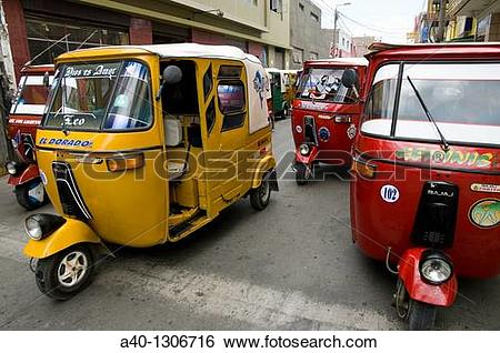 Stock Images of Peru. Ica department. Ica city. Motorcycle Taxi.