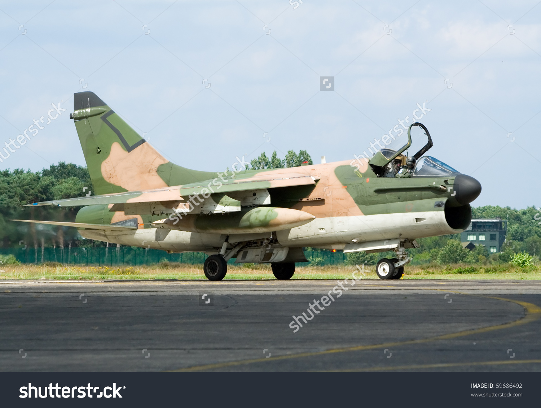 Vietnamera A7 Corsair Fighter Jet Stock Photo 59686492.