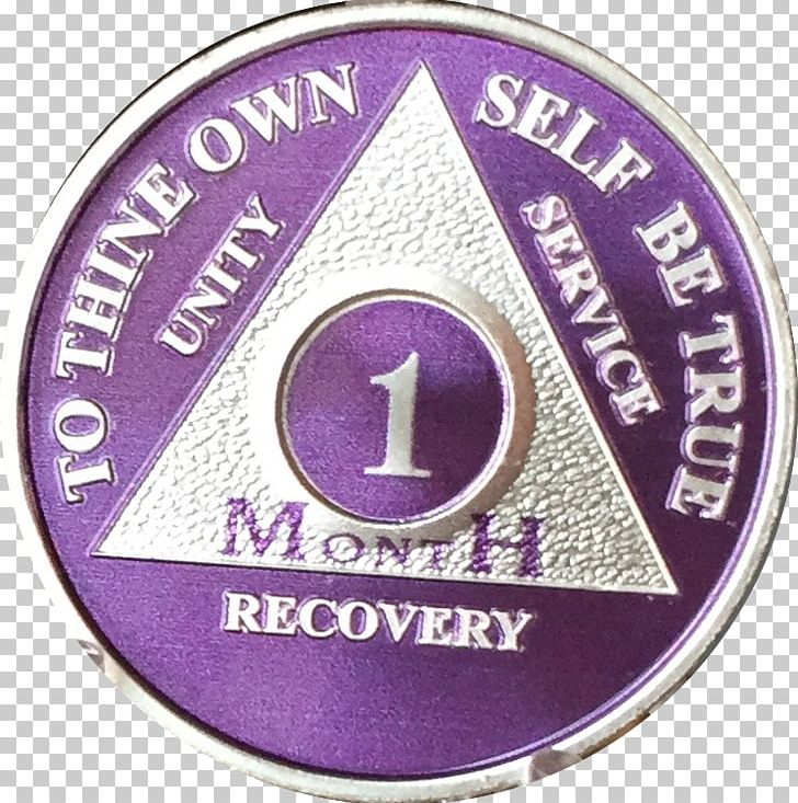 1 Month Purple Silver Plated AA Medallion 30 Day Chip Badge.