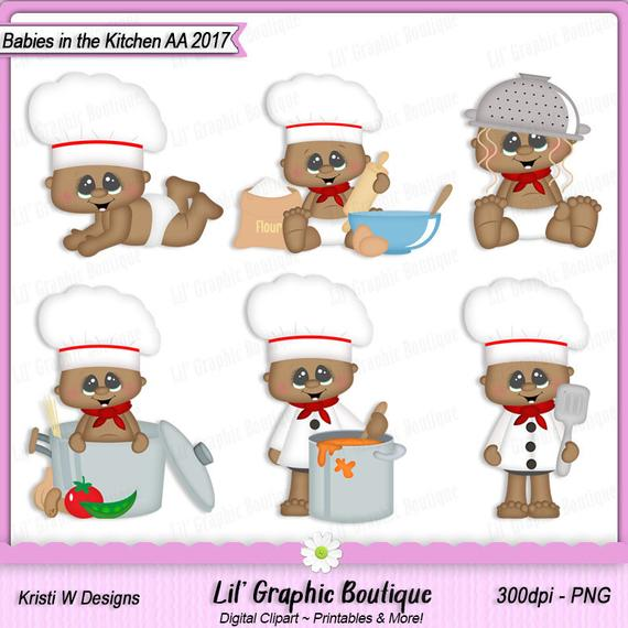 Babies in the Kitchen 2017 AA Digital Clip Art Set ~ Graphics Kristi W  Designs Personal & Commercial Use Scrapbooking.