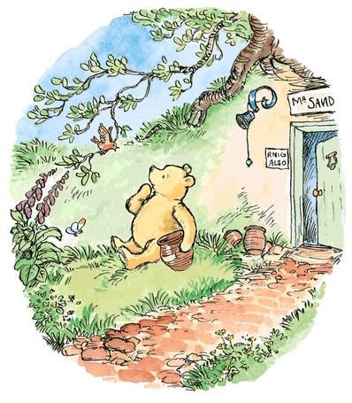 Winnie the Pooh book art / Pooh Bear color illustration.