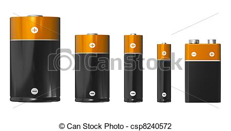 Clip Art of Different sizes of batteries: D, C, AA, AAA and PP3.
