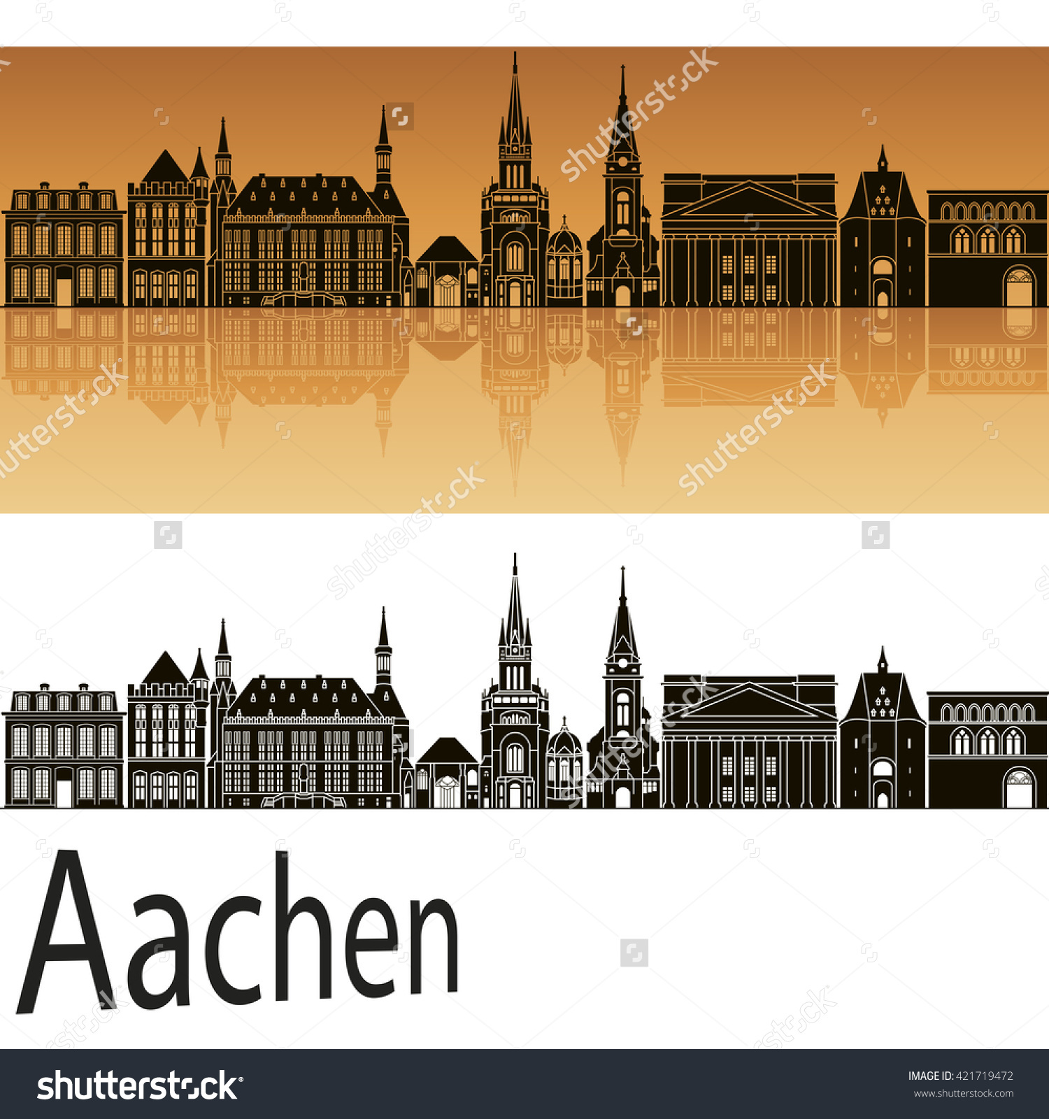 Aachen Skyline Orange Background Editable Vector Stock Vector.